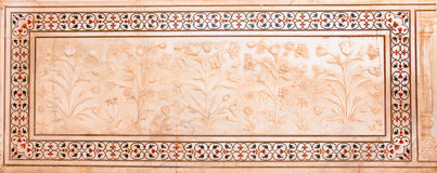 Carved Marble Panel from Taj Mahal in Agra India Stock Images