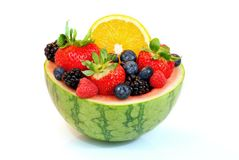 Carved melon fruit bowl Stock Photography