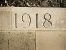 1918 carved in memorial Royalty Free Stock Images