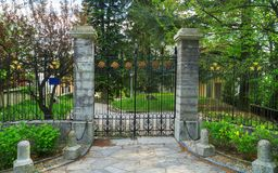 Carved metal gates. Concept of private property. Carved metal gates. The concept of private property royalty free stock photos