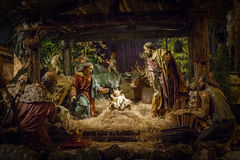Carved nativity scene Stock Photography