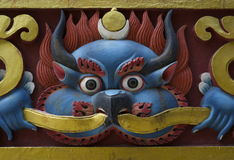 Carved Nepalese Temple Demon Royalty Free Stock Photo