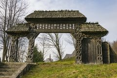 Old traditional carved wood gate stock image