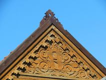 Carved old wooden home wall Stock Photography