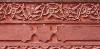 Carved ornament, architecture detail of the Red Fort. Agra, Indi Stock Images