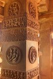 A Carved & Ornamented Red Sandstone Pillar, Aihole, Karnataka, India. Aihole, Karnataka, India is known for group of monuments of Chalukya dynasty... This is Stock Photo