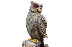 Carved owl sculpture on white background Royalty Free Stock Photos