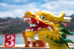 Carved and painted dragon head of a Dragonboat.  Royalty Free Stock Images