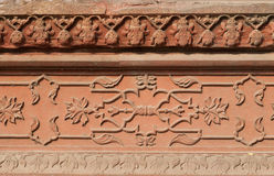 Carved Panel from red sandstone of Diwan I Am in Red Agra Fort Royalty Free Stock Photography