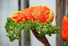 Carved papaya fruit Stock Image
