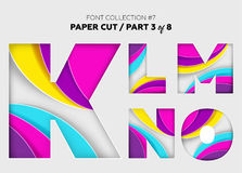 Carved Paper Art, Font Design. Beautiful 3D Letters Crafted with. Bright Paper. Origami Alphabet Concept. Trendy Creative Shapes. Vector Illustration for Stock Image