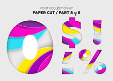 Carved Paper Art, Font Design. Beautiful 3D Letters Crafted with. Bright Paper. Origami Alphabet Concept. Trendy Creative Shapes. Vector Illustration for Stock Images