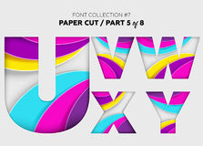 Carved Paper Art, Font Design. Beautiful 3D Letters Crafted with. Bright Paper. Origami Alphabet Concept. Trendy Creative Shapes. Vector Illustration for Royalty Free Stock Image