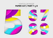 Carved Paper Art, Font Design. Beautiful 3D Letters Crafted with. Bright Paper. Origami Alphabet Concept. Trendy Creative Shapes. Vector Illustration for Royalty Free Stock Photography