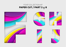 Carved Paper Art, Font Design. Beautiful 3D Letters Crafted with. Bright Paper. Origami Alphabet Concept. Trendy Creative Shapes. Vector Illustration for Stock Photos