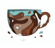 Carved paper cup brown Stock Images