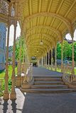Carved Park Colonnade of Karlovy Vary. In Czech republic. People on the background Stock Image