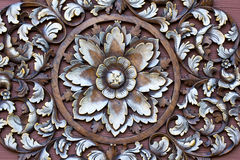 Carved pattern on wood stock image