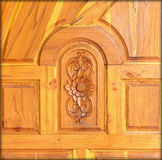 Carved pattern on wood, element of decor Royalty Free Stock Photo