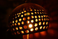 Carved and Perforated Coconut Lamp Royalty Free Stock Photos