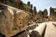 Carved pillars in amphitheater Royalty Free Stock Image