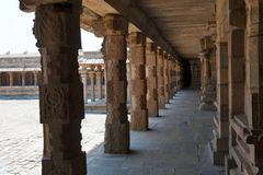 Carved pillars of the north side cloister, Airavatesvara Temple, Darasuram, Tamil Nadu Stock Photo