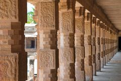 Carved pillars of the northern cloister, Airavatesvara Temple, Darasuram, Tamil Nadu Stock Photos