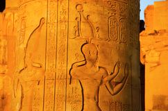 Carved pillars of the Temple of Kom Ombo, Is an unusual double temple, It was constructed during the Ptolemaic dynasty. 180 47 BC, Some additions to it were Royalty Free Stock Images