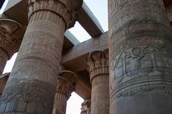 Carved pillars of the Temple of Kom Ombo, Is an unusual double temple, It was constructed during the Ptolemaic dynasty, 180-47 BC. Some additions to it were Stock Image