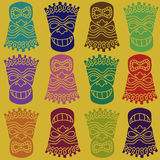 Tiki totem seamless pattern Royalty Free Stock Images
