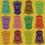 Carved Polynesian Tiki Totem Seamless Pattern Royalty Free Illustration