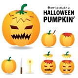 Carved pumpkin. Halloween pumpkin clip art illustration isolated on a white background. Can be placed on your design or costume. images of how to carve a pumpkin Stock Images