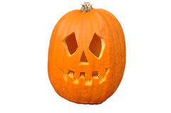 Carved pumpkin face. Carved scary Halloween pumpkin face royalty free stock photos