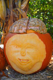 Carved Pumpkin Face with a Brain Stock Photo