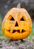 Carved pumpkin face on open air Royalty Free Stock Photography