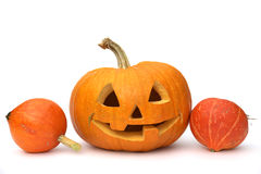 Carved Pumpkin and Gourds. Jack O Lantern and orange gourds on white background royalty free stock photos