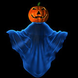 Carved pumpkin. In mystique clothes Stock Photos