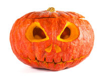 Carved pumpkin on white Stock Image