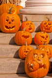 Carved Pumpkins. A unique collection of carved Jack o Lanterns Royalty Free Stock Photos