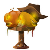 Carved pumpkins, candles and cowboy hat on table. Carved pumpkins, candles and cowboy hat on the table. The symbols of Halloween vector illustration