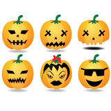 Carved pumpkins collection. Halloween pumpkin clip art illustration isolated on a white background. Can be placed on your design or costume. Set of six carved Stock Images