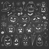 Carved pumpkins and Halloween doodles on a chalkboard. Pumpkins and autumn doodles hand drawn on a chalkboard. Vector illustration with carved pumpkins and Stock Photos