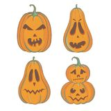 Carved pumpkins for Halloween isolated on white. Set of five carved pumpkins for Halloween. Vector illustration with jack-o-lanterns isolated on white stock illustration