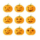 9 carved pumpkins. Set of 9 carved pumpkins royalty free illustration