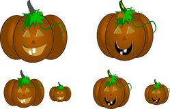 Carved pumpkins on white. Pumpkins carved with toothy faces on white clipart royalty free illustration