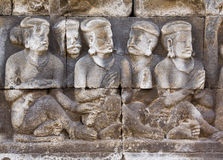 Carved relief at Boroburdur Stock Photo