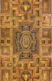 Carved renaissance ceiling of church Santa Maria in Aracoeli, Rome Italy. Rome, Italy - September 9, 2015: Carved renaissance ceiling of church Santa Maria in Royalty Free Stock Image