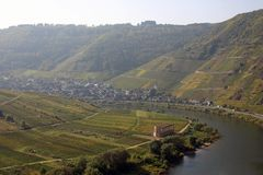 Carved river valley. Carved valley river of river Mosel Royalty Free Stock Photo