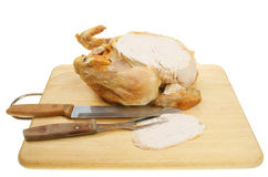 Carved roast chicken Royalty Free Stock Photos