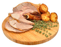 Carved Roast Leg Of Lamb Royalty Free Stock Image